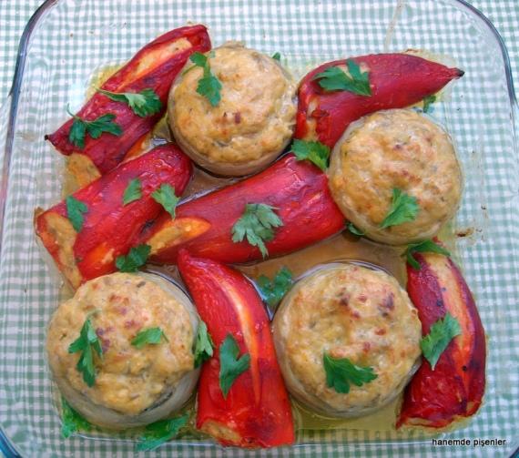 patlıcan beğedili enginar ve közlenmiş biber dolması